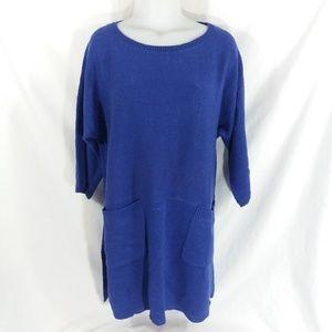 Soft Surroundings Pocket Tunic Sweater Blue S/M